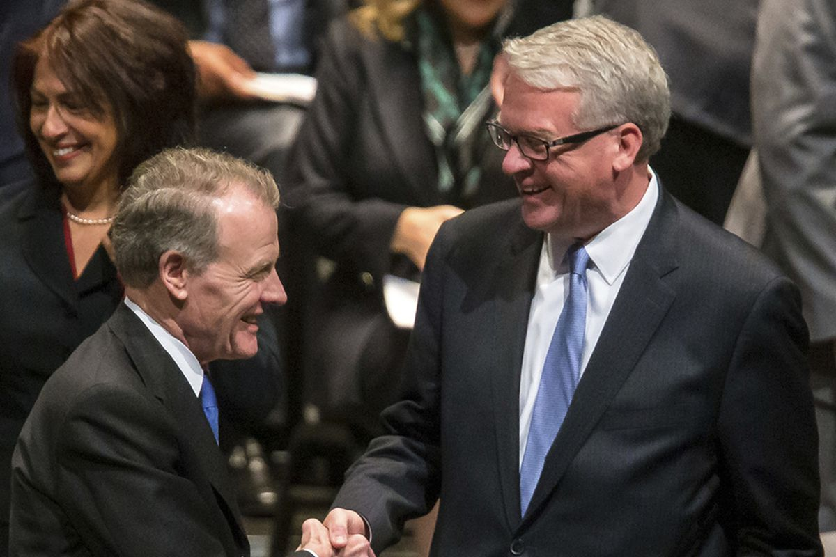 House Speaker Michael Madigan (left) and state Rep. Jim Durkin, R-Western Springs, are two of the four top Illinois legislators who've used loopholes to raise millions beyond the usual limits on campaign contributions.