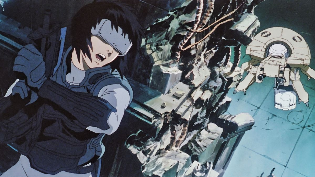 Motoko Kusanagi facing off against a spider tank