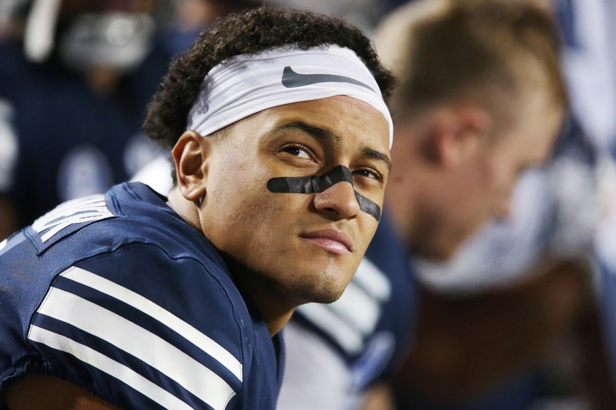 BYU defensive back Troy Warner (1) looks at the clock near the end of the game against Boise State in Provo on Friday, Oct. 6, 2017.