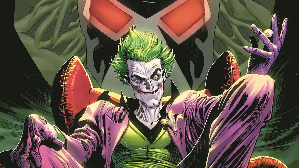 The Joker sits on a throne above the Arkham Asylum Gates, with Bane looming over him, on the cover of The Joker #1, DC Comics (2021).
