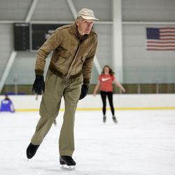 Don Norton, 82, skates at Peaks Ice Arena in Provo on Wednesday, April 5, 2017. Norton picked up skating again about six years ago and frequents Peaks Ice Arena for exercise.