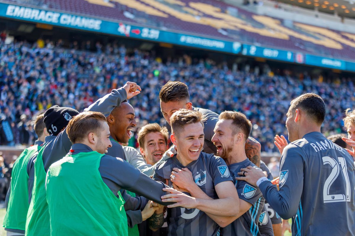March 17, 2018 - Minneapolis, Minnesota, United States - Sam Nicholson celebrates his converted header in the 66' during the Minnesota United vs Chicago Fire match at TCF Bank Stadium