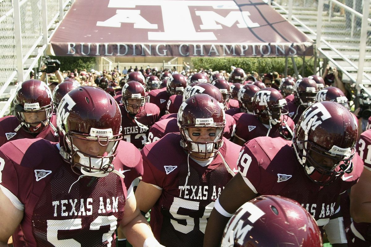 The Texas A&M University Aggies enter the field