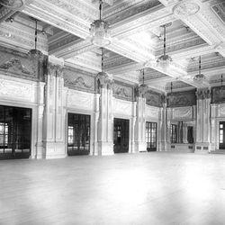 The Hotel Utah Ballroom had ornate walls and ceiling trim.