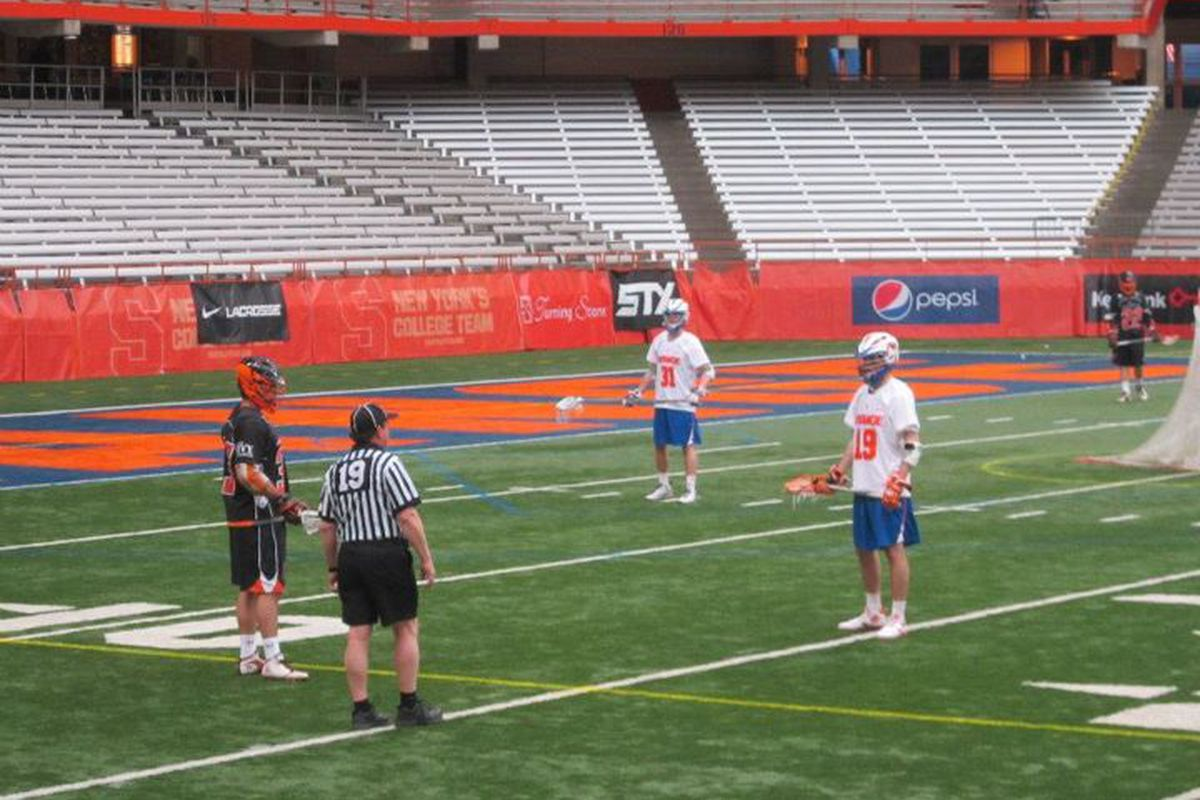 Last year's action... or a restart after a timeout... between Syracuse and Princeton