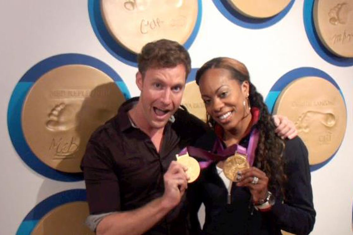 Charley Cullen Walters with Olympic gold medalist Sonya Richards Ross at the London Olympics