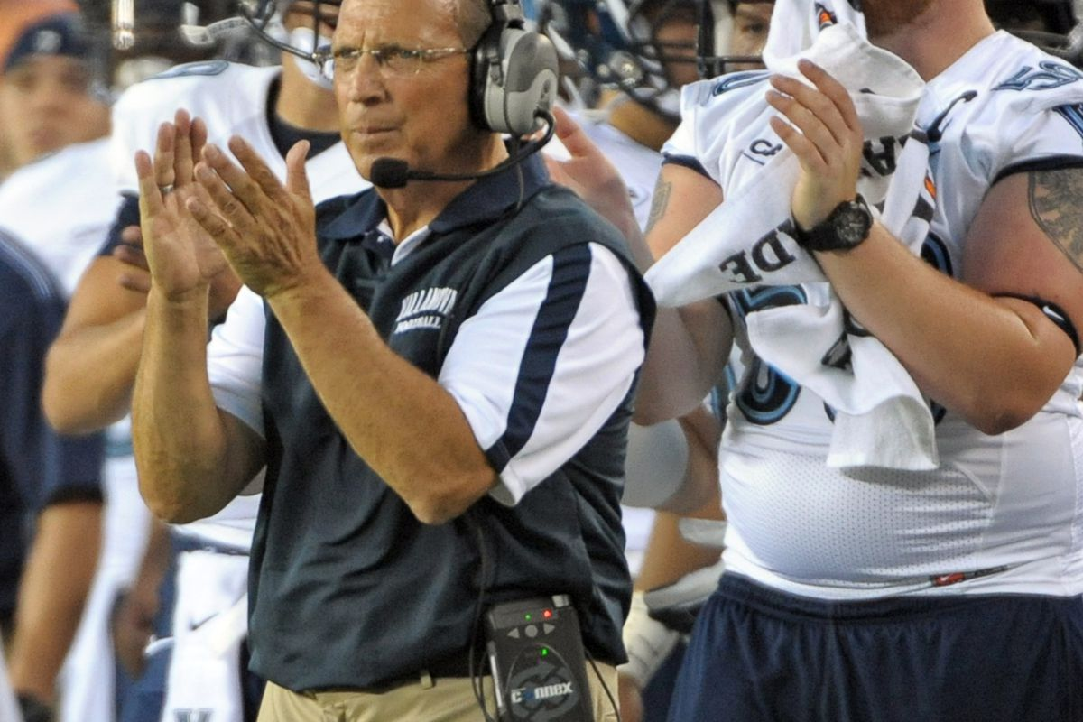 August 31, 2012; Philadelphia, PA, USA;  Villanova Wildcats head coach Andy Talley applauds his team in the first quarter against the Temple Owls at Lincoln Financial Field. Mandatory Credit: Eric Hartline-US PRESSWIRE
