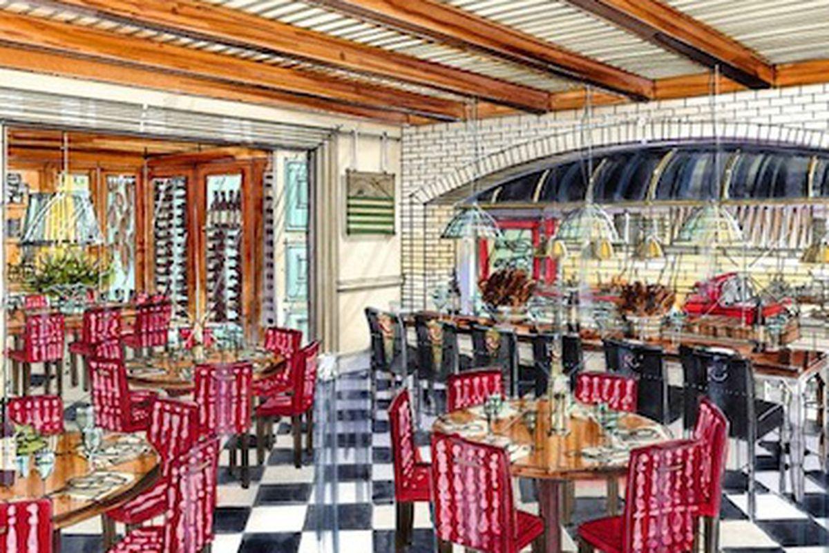A rendering of Restaurant R'evolution.