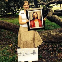 """Sister Sadie Johnson of Cedar Hills, Utah, participates in the LDS missionary Facebook event, """"I Follow Him,"""" coordinated by the LDS Church's Florida Jacksonville Mission in 2014.  Missionaries and church members in the Jacksonville area posted these pictures on their Facebook pages and shared each others' posts. The effort led people to contact Latter-day Saints and missionaries asking to learn more about their faith."""