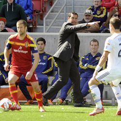 Real Salt Lake head coach Jeff Cassar directs his player during a game at Rio Tinto Stadium on Saturday, March 22, 2014.