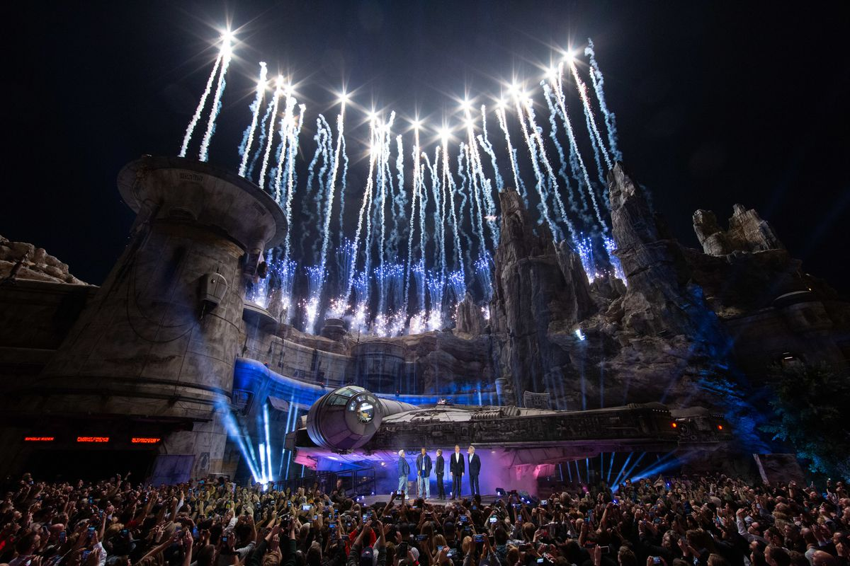 Star Wars: Galaxy's Edge at Disneyland Park in Anaheim, California, lights up with galactic fanfare during its pre-opening ceremony, May 29, 2019. Star Wars: Galaxy's Edge opens May 31, 2019, at Disneyland Resort in California and Aug. 29, 2019, at Walt D