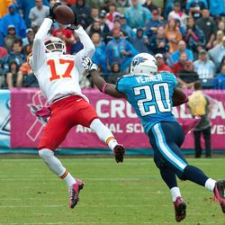Oct 6, 2013; Nashville, TN, USA; Kansas City Chiefs wide receiver Donnie Avery (17) catches a pass in front of Tennessee Titans cornerback Alterraun Verner (20) during the first half at LP Field.
