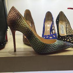 Louboutin rainbow snakeskin heel, size 5, $697.50 (was $1,395)