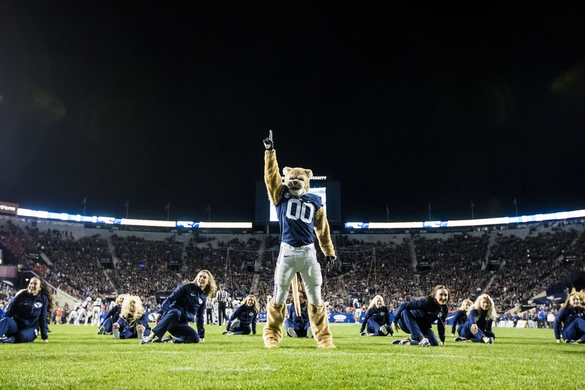 BYU's Cosmo the Cougar performs with the BYU Cougarettes during the 2017 Homecoming Football game against Boise State, Oct. 6, 2017.
