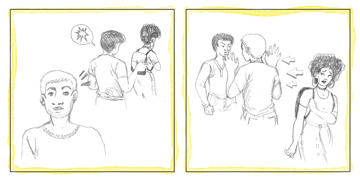 An illustration of a man distracting an aggressor from street harassing a woman.