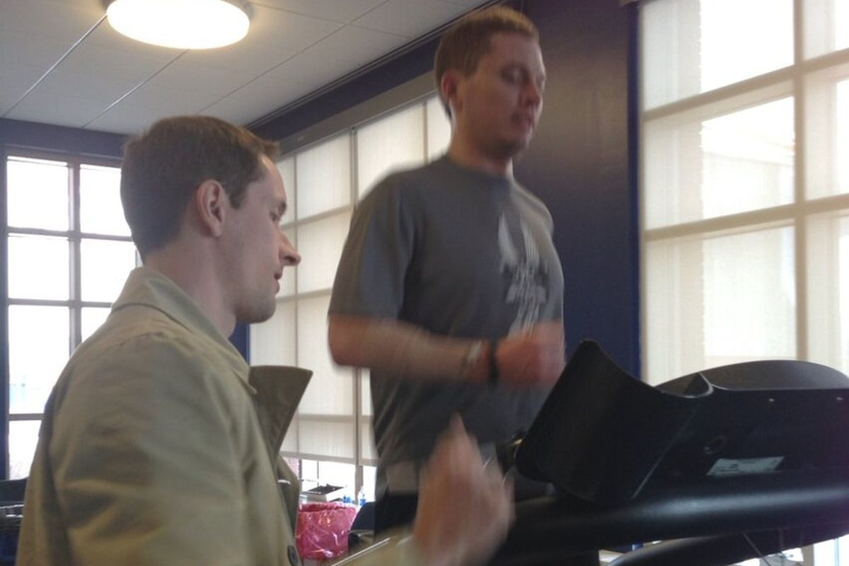The author on the treadmill for his lactate threshold test.