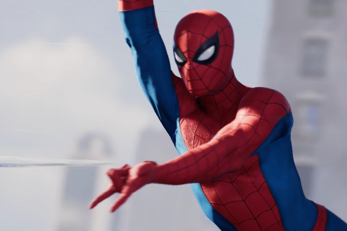 Spider-Man swinging cutscene image