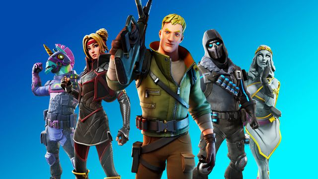 Several Fortnite players stand facing the camera with weapons in hand