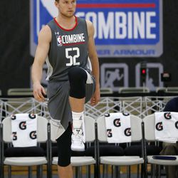 Eric Mika, from BYU, warms up at NBA Combine on Thursday, May 11, 2017, in Chicago.