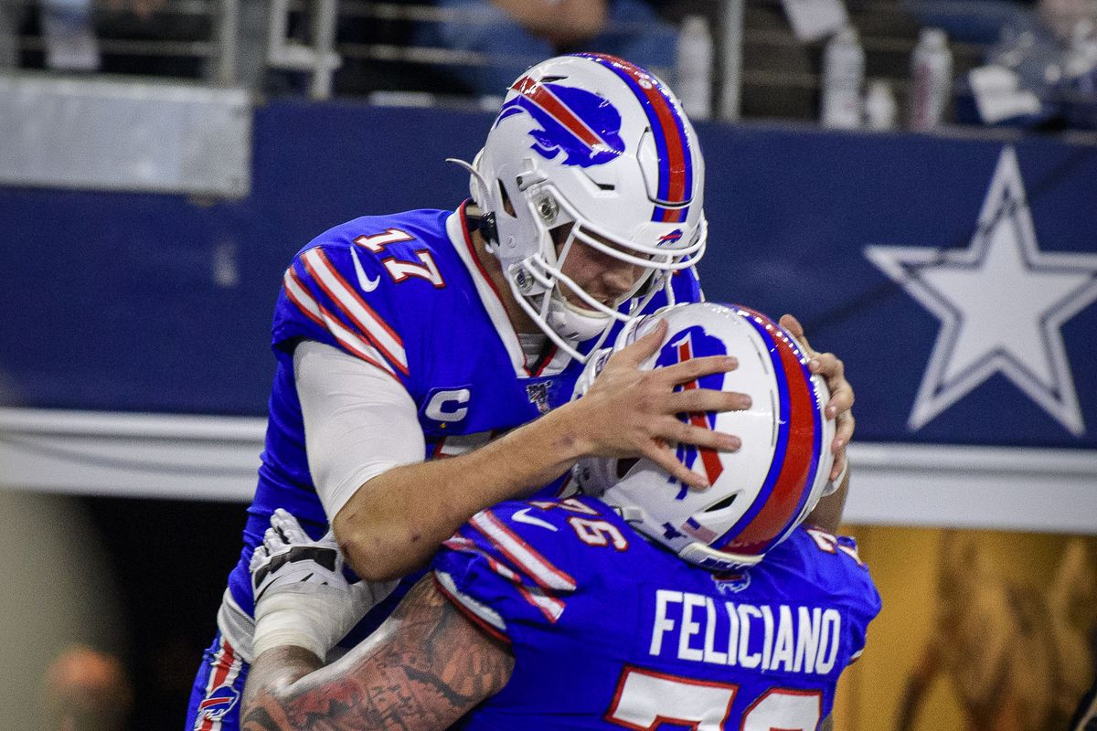 Buffalo Bills quarterback Josh Allen and guard Jon Feliciano celebrate Allen s touchdown against the Dallas Cowboys during the game at AT&T Stadium.