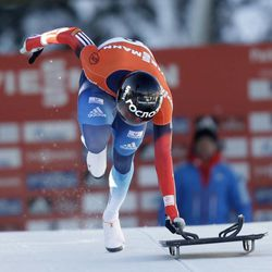 Russia's Alexander Tretiakov competes at the men's skeleton World Cup event on Friday, Dec. 6, 2013, in Park City. Tretiakov came in first place.