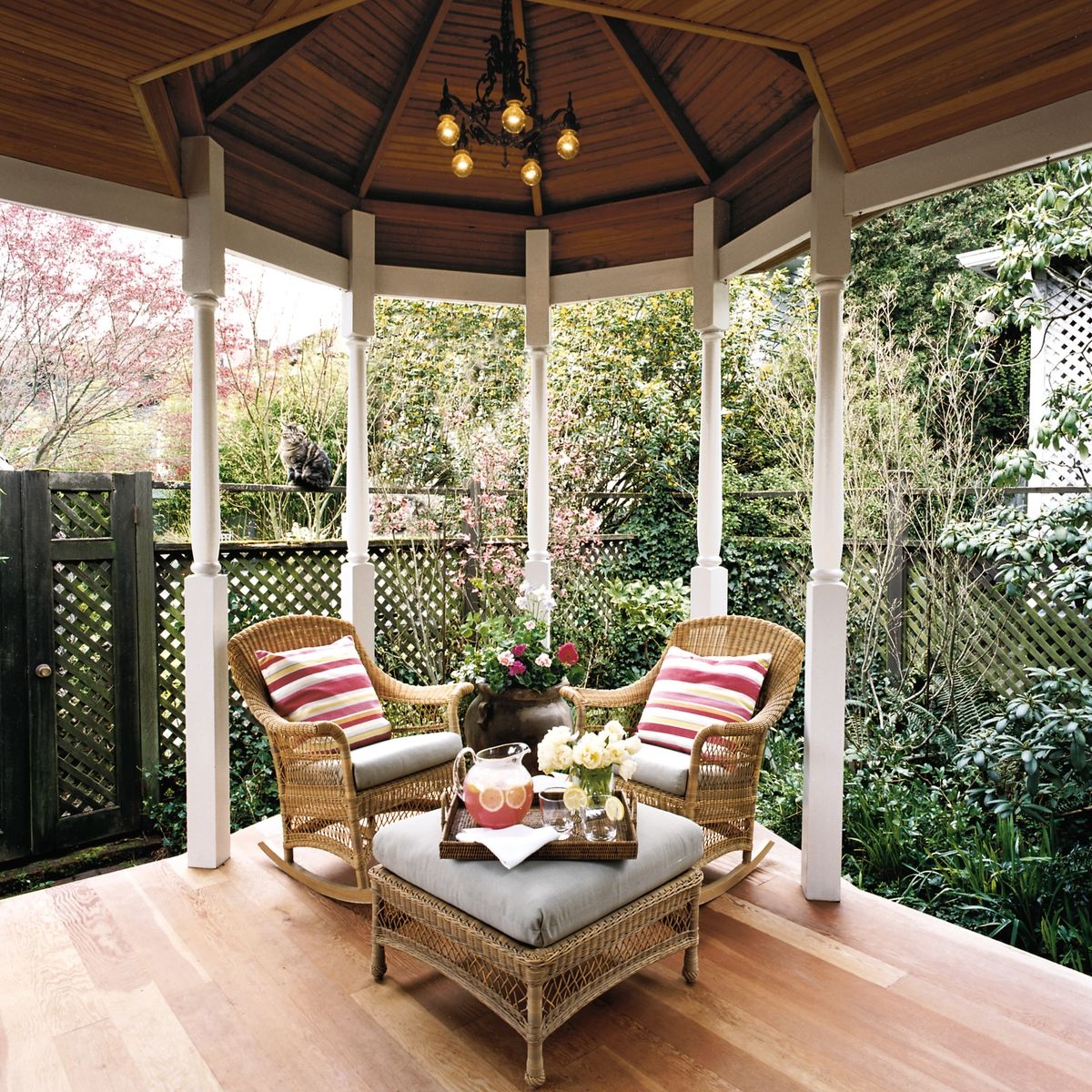 <p>Victorian-era octagonal structures — and a narrow Seattle lot — inspired the gazebo bump-out on Rich and Cathy Gaspar's porch. It's turned columns complement their 1908 house, and the continuous roofline provides additional all-weather living space.</p>