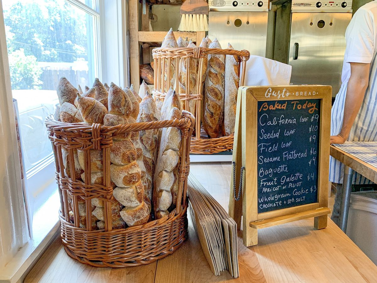 Baguettes at Gusto Bread in Long Beach, California