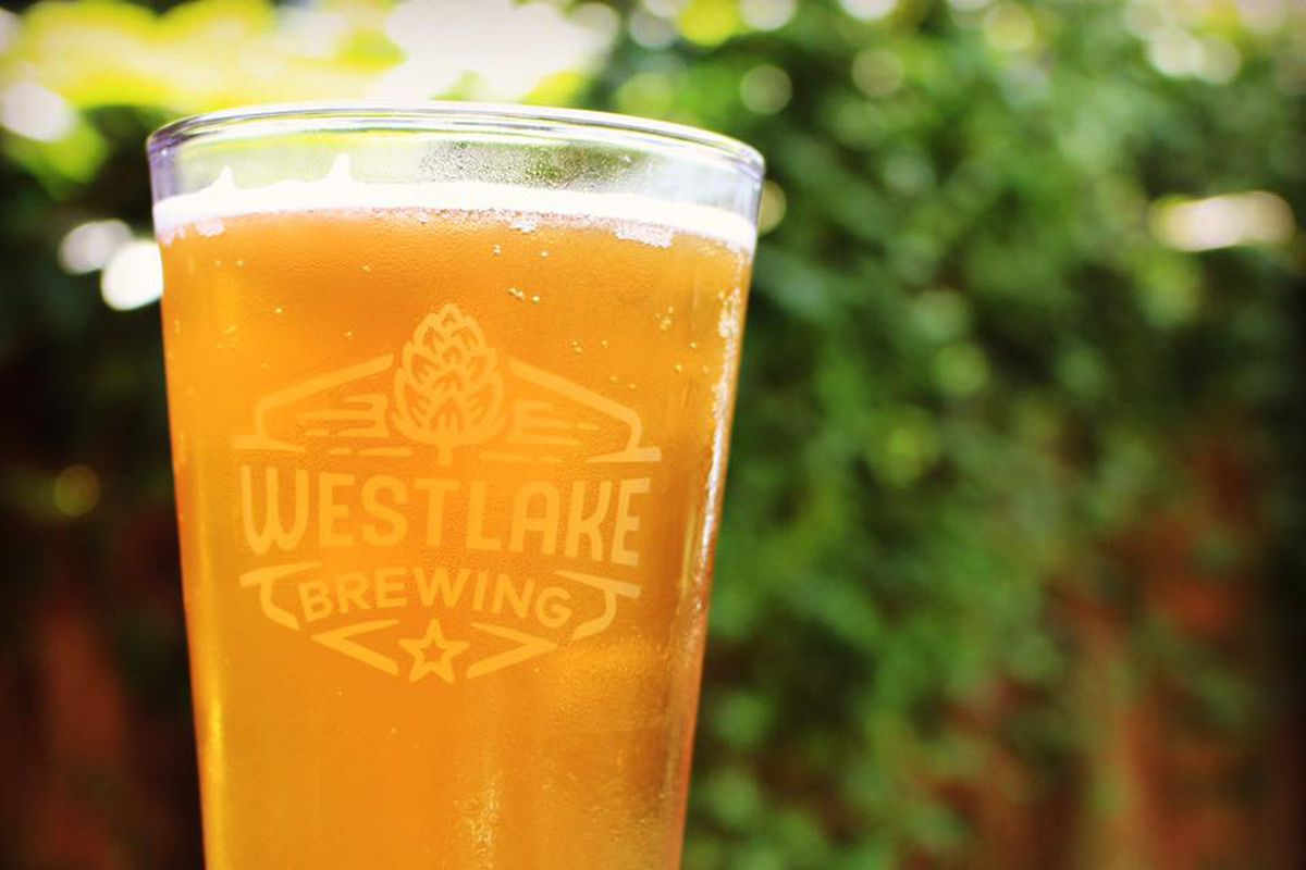 Blonde ale served in a Westlake Brewing Company pint glass