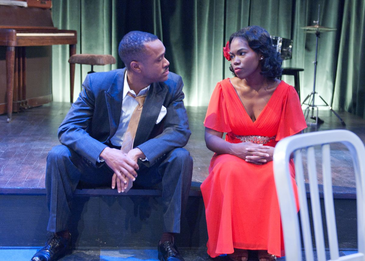 "Al'Jaleel McGhee plays Blue and Kristin E. Ellis is Pumpkin in the TimeLine Theatre production of Dominique Morisseau's play ""Paradise Blue."" (Photo: Lara Goetsch)"