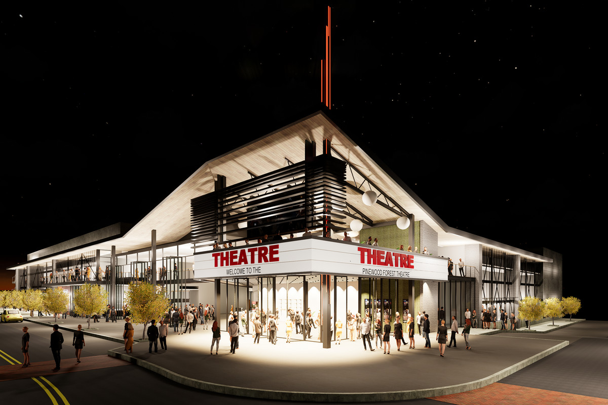 """A rendering of a movie cinema with two floors and a rooftop patio theater. The marquee says """"Welcome to the Pinewood Forest Theater."""""""
