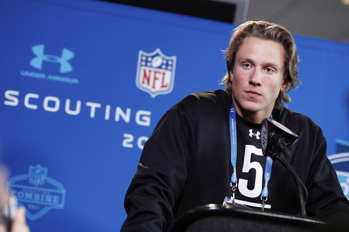 INDIANAPOLIS IN - FEBRUARY 25:  Missouri Tigers quarterback Blaine Gabbert answers questions during a media session at the 2011 NFL Scouting Combine at Lucas Oil Stadium on February 25 2011 in Indianapolis Indiana. (Photo by Joe Robbins/Getty Images)