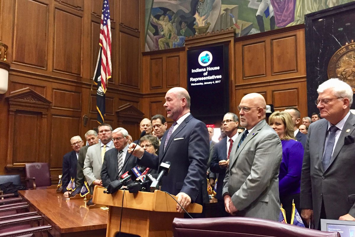 House Speaker Brian Bosma presents legislative priorities for Indiana House Republicans on Wednesday.