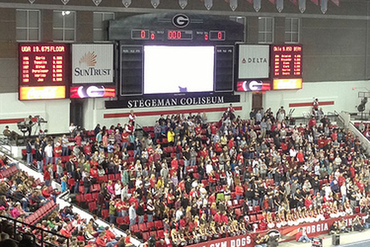 The Gym Dogs will return to Stegeman Coliseum with the young season's first victory. (Photo credit: '92 grad.)