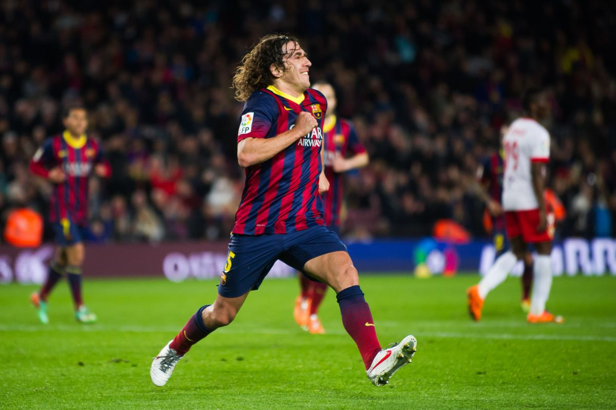 Puyol celebrates the final goal of his 20-year career with Barça