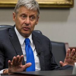 Libertarian presidential candidate Gary Johnson speaks with the Deseret News and KSL editorial board in Salt Lake City on Friday, Aug. 19, 2016.