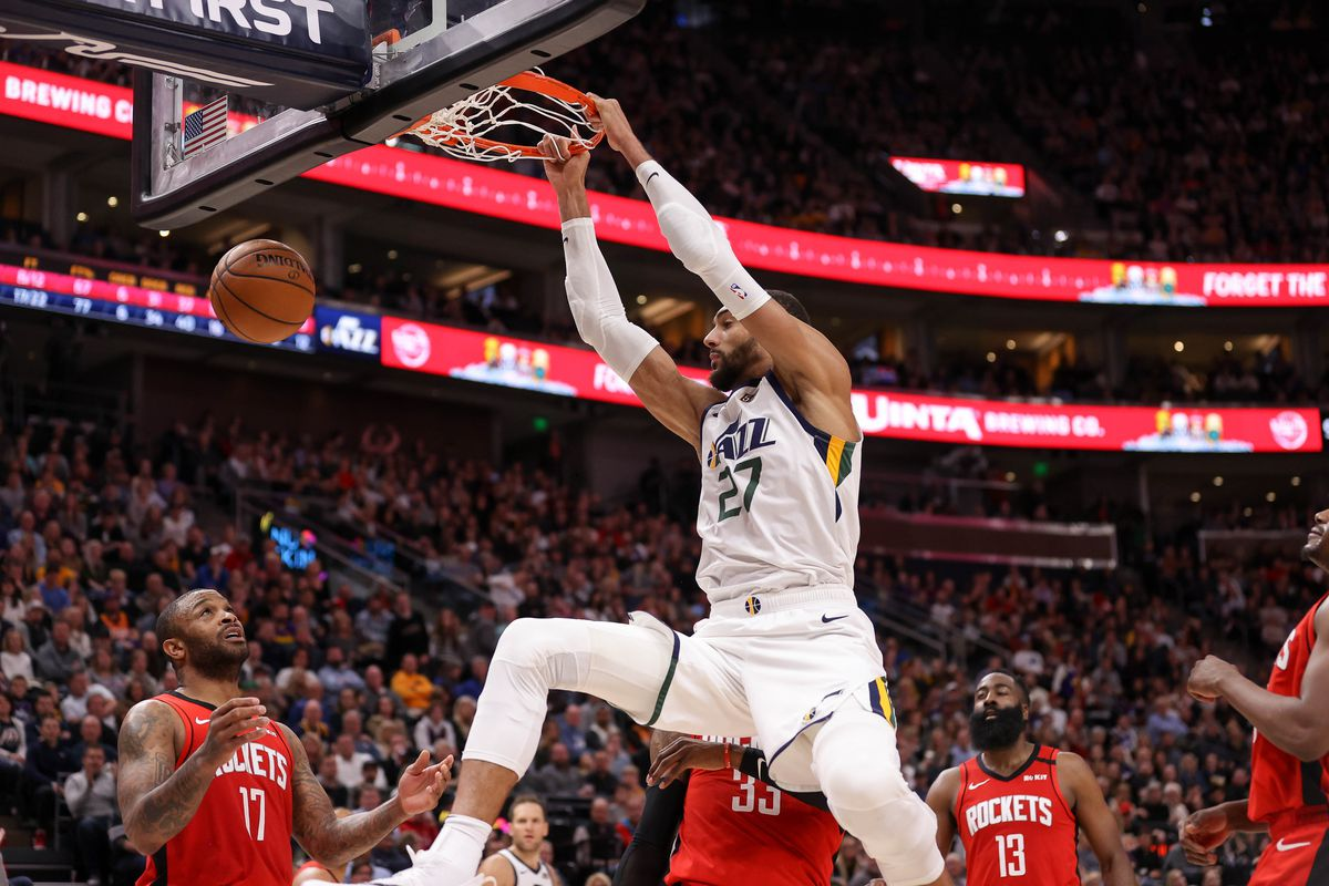 Utah Jazz center Rudy Gobert dunks against the Houston Rockets during the fourth quarter at Vivint Smart Home Arena. The Rockets won 120-110.