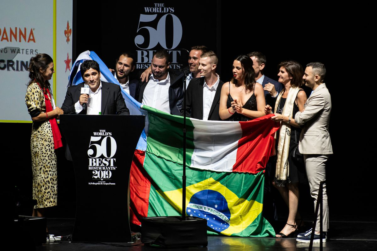 Mauro Colagreco celebrates after his restaurant Mirazur was named the 'World's Best Restaurant' in 2019