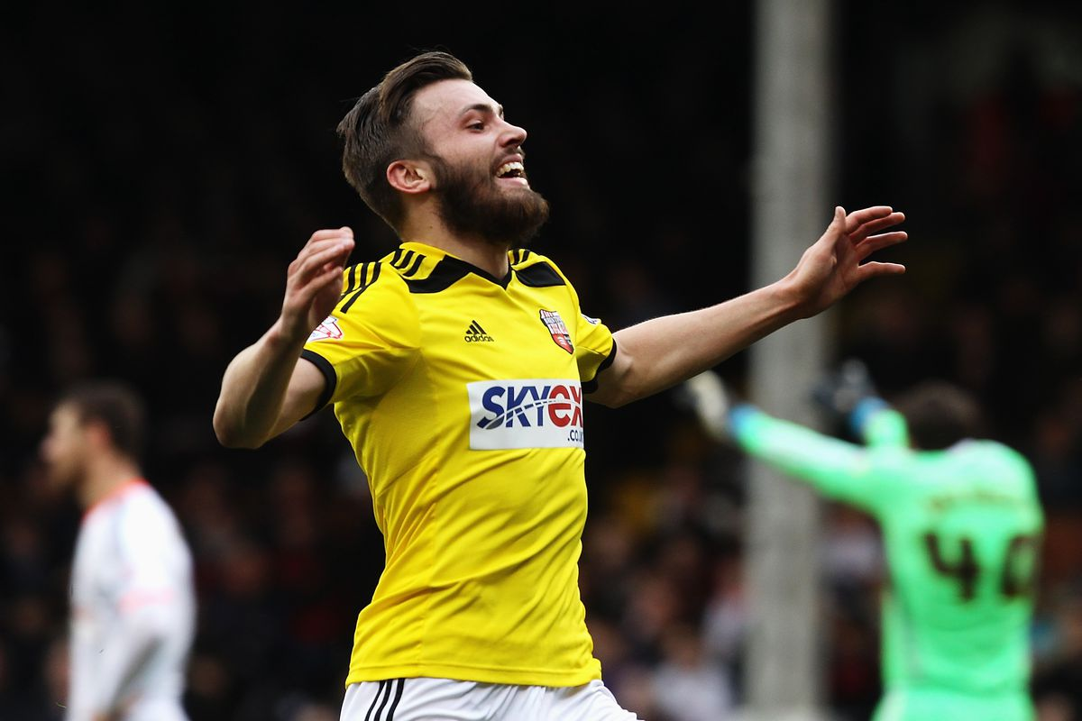 Dallas celebrating his second goal against Fulham.