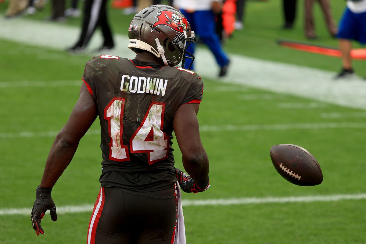 Chris Godwin #14 of the Tampa Bay Buccaneers celebrates a touchdown during a game against the Atlanta Falcons at Raymond James Stadium on January 03, 2021 in Tampa, Florida.