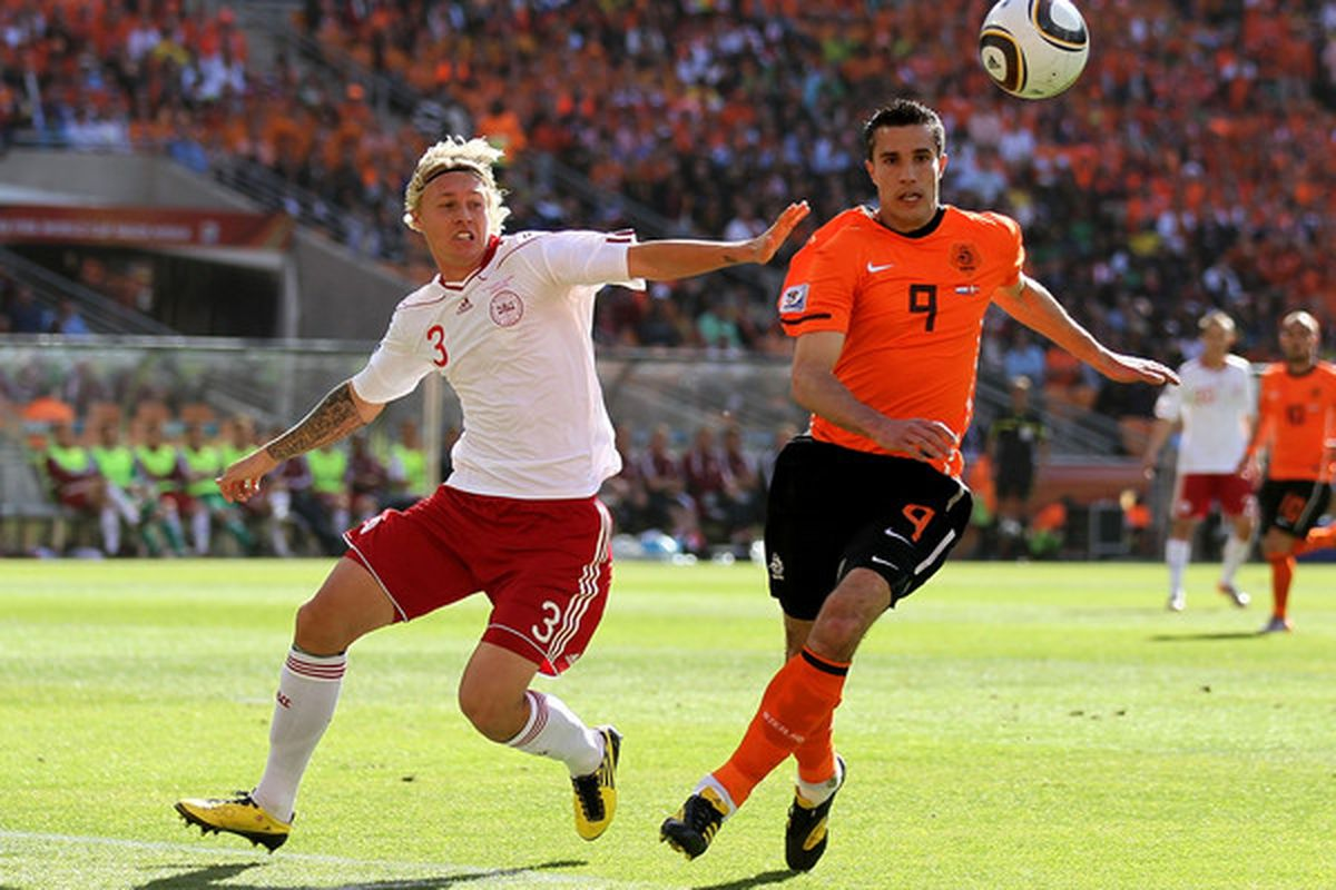 Denmark and Wolfsburg defender Simon Kjaer in action against Holland during the group stages of this summer's World Cup.