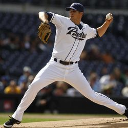 San Diego Padres relief pitcher Cory Luebke delivers in the first inning against the Arizona Diamondbacks in a baseball game on Wednesday, April 11, 2012, in San Diego.