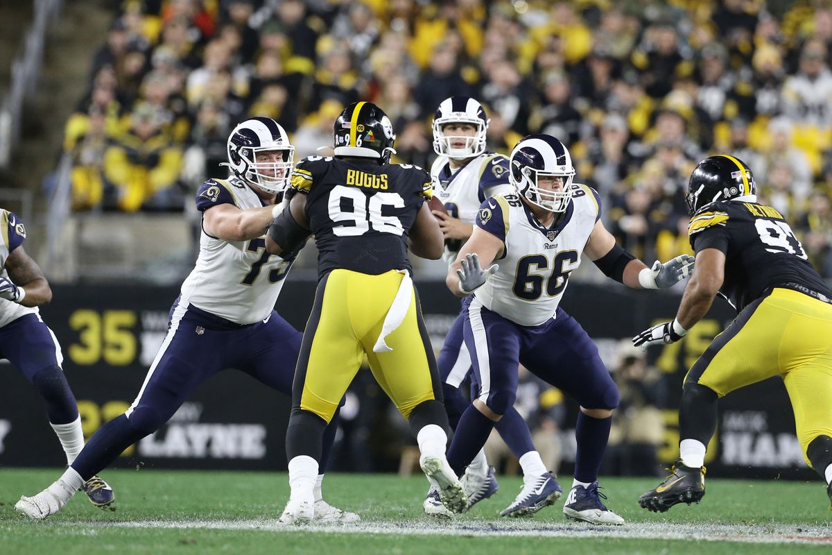 Los Angeles Rams RG David Edwards and C Austin Blythe block against the Pittsburgh Steelers in Week 10, Nov. 10, 2019.