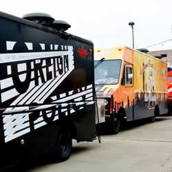 Food trucks lined up for Houston Food Park's grand opening.