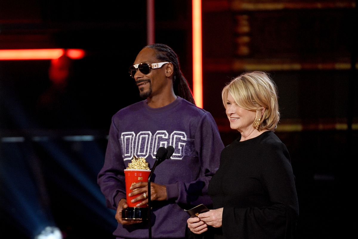 Rapper Snoop Dogg and cookbook author and television personality Martha Stewart. Snoop Dogg will release his first cookbook after their Emmy-nominated show