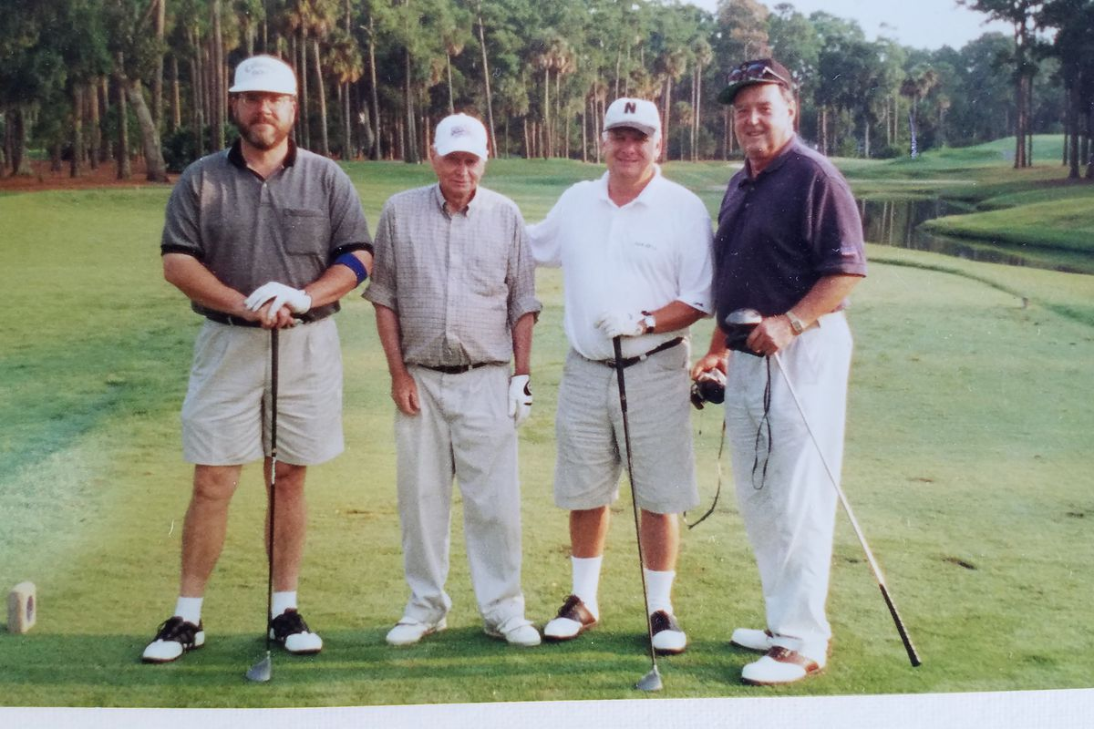 From left: Doug Martin, Roy Soltz, Dick Harmon, Paul James on No. 1 tee box at Sawgrass Country Club in Ponte Vedra Beach, Fla.