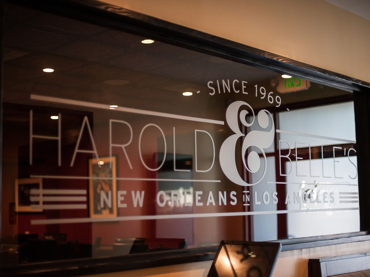 Window sing for Harold & Belle's restaurant in South Los Angeles