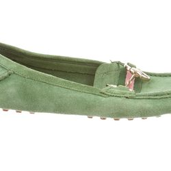 A green suede version with a rubber sole.