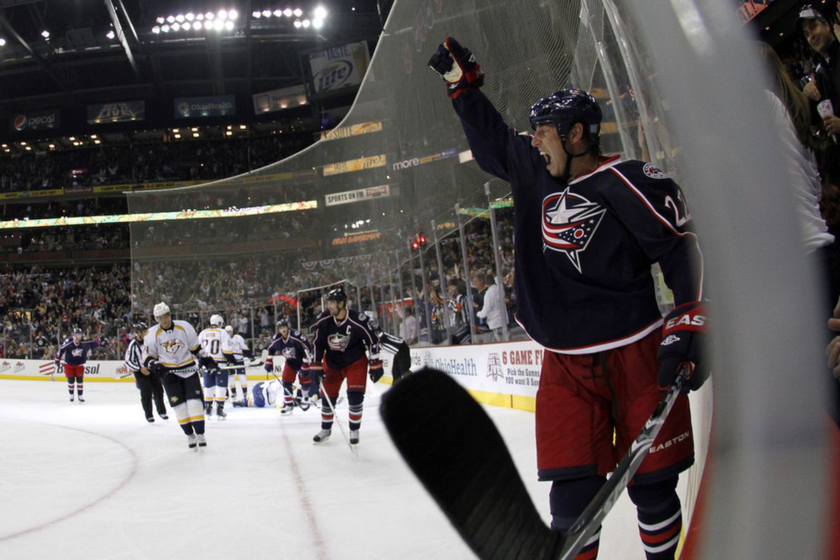 Vinny Prospal, with his trademark goal celebration.  (Photo by Justin K. Aller/Getty Images)