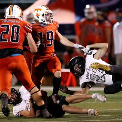 Lone Peak and Timpview play in a high school football game in Provo on Friday, Aug. 14, 2020. Lone Peak won 24-0.
