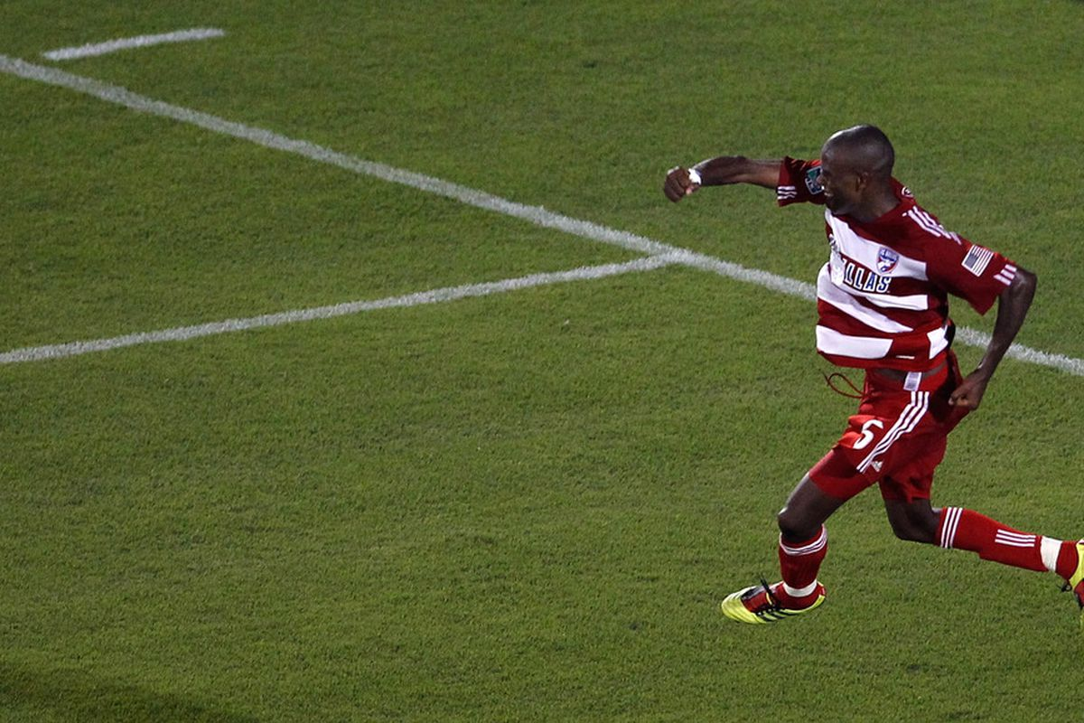 FRISCO, TX - JULY 02:  Jackson Goncalves #6 of the FC Dallas celebrates after scoring against the Columbus Crew to win 2-0 at Pizza Hut Park on July 2, 2011 in Frisco, Texas.  (Photo by Tom Pennington/Getty Images)